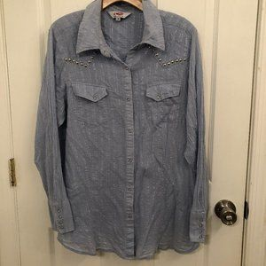Roper Western Blue Shirt Silver Accents Pearl Snap
